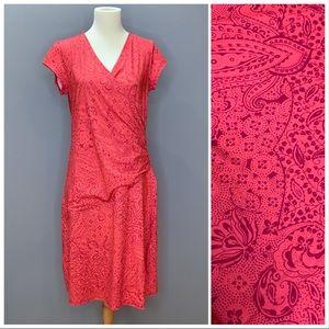 ATHLETA coral Sweet Nectar faux wrap dress, M.